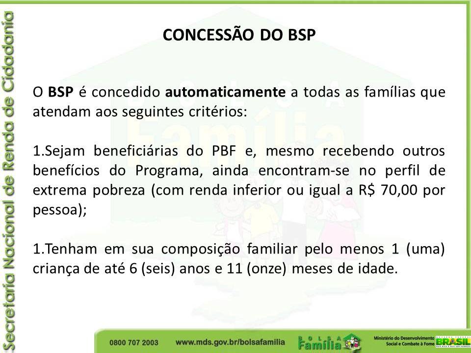 CONCESSÃO DO BSP O BSP é concedido automaticamente a todas as famílias que atendam aos seguintes critérios: 1.Sejam beneficiárias do PBF e, mesmo rece