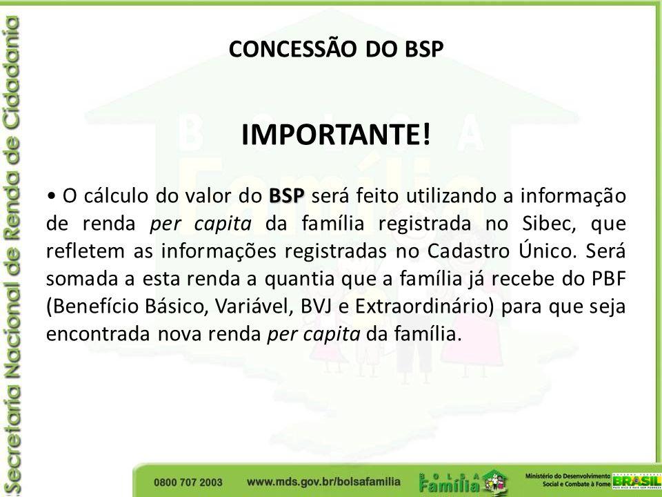 CONCESSÃO DO BSP IMPORTANTE! BSP O cálculo do valor do BSP será feito utilizando a informação de renda per capita da família registrada no Sibec, que