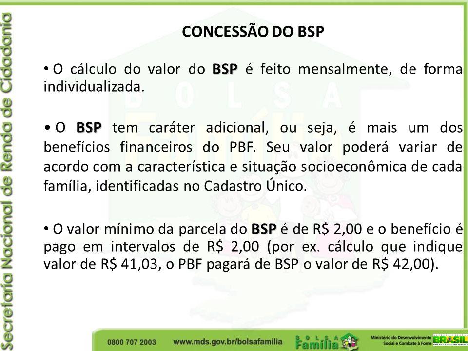 CONCESSÃO DO BSP BSP O cálculo do valor do BSP é feito mensalmente, de forma individualizada. BSP O BSP tem caráter adicional, ou seja, é mais um dos