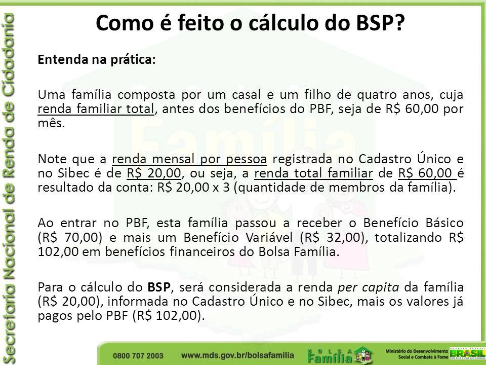 Como é feito o cálculo do BSP? Entenda na prática: Uma família composta por um casal e um filho de quatro anos, cuja renda familiar total, antes dos b