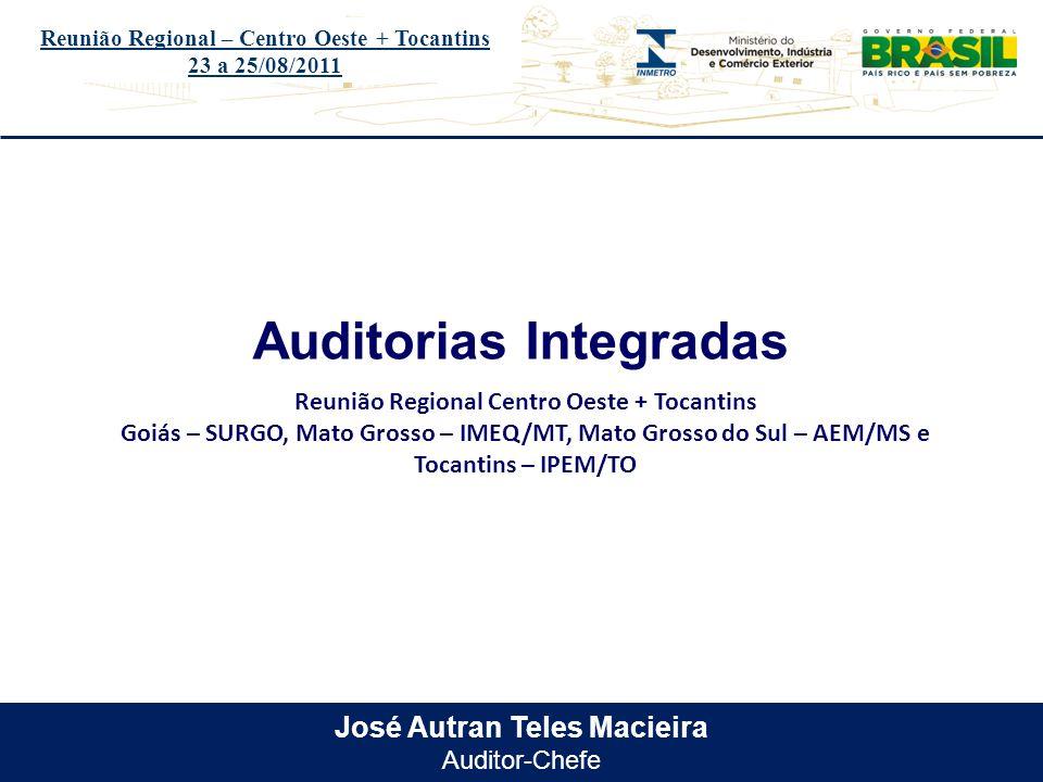 Título do evento José Autran Teles Macieira Auditor-Chefe Auditorias Integradas Reunião Regional – Centro Oeste + Tocantins 23 a 25/08/2011 Reunião Re