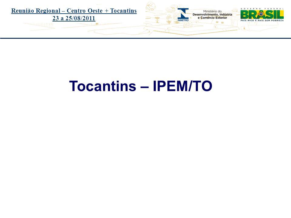 Título do evento Reunião Regional – Centro Oeste + Tocantins 23 a 25/08/2011 Tocantins – IPEM/TO