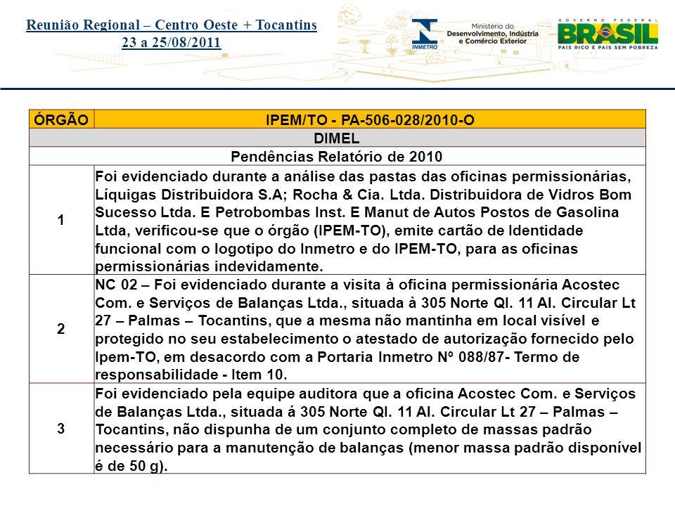 Título do evento Reunião Regional – Centro Oeste + Tocantins 23 a 25/08/2011 ÓRGÃOIPEM/TO - PA-506-028/2010-O DIMEL Pendências Relatório de 2010 1 Foi