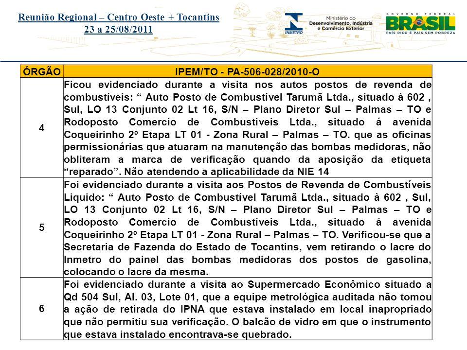 Título do evento Reunião Regional – Centro Oeste + Tocantins 23 a 25/08/2011 ÓRGÃOIPEM/TO - PA-506-028/2010-O 4 Ficou evidenciado durante a visita nos