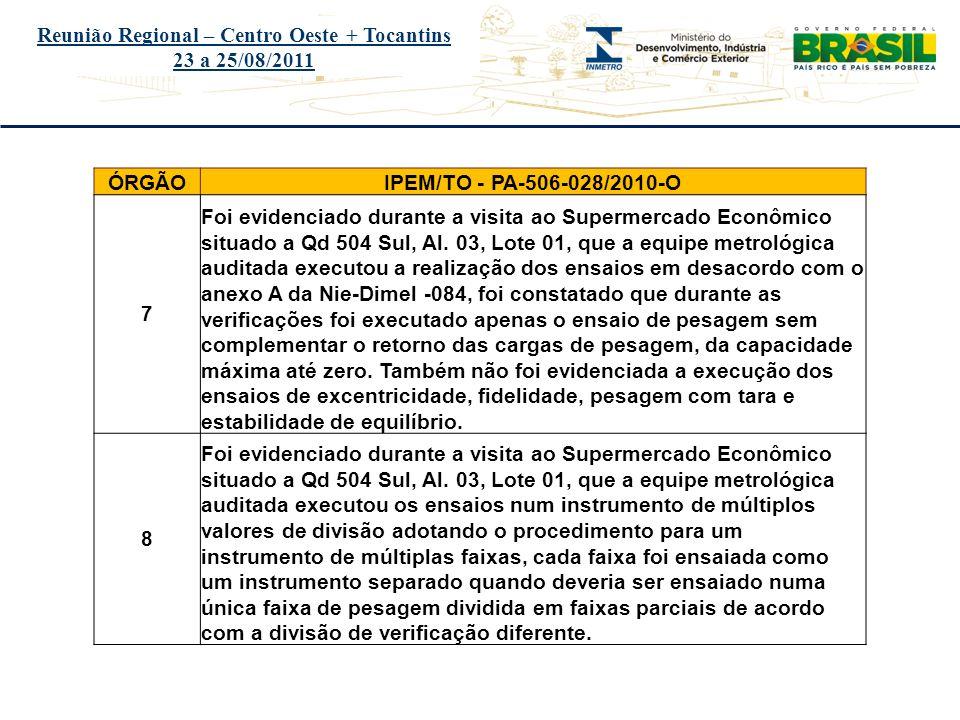Título do evento Reunião Regional – Centro Oeste + Tocantins 23 a 25/08/2011 ÓRGÃOIPEM/TO - PA-506-028/2010-O 7 Foi evidenciado durante a visita ao Su