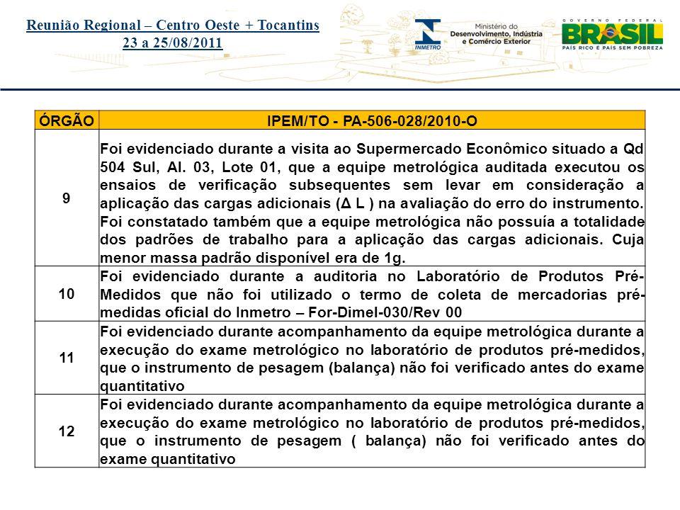 Título do evento Reunião Regional – Centro Oeste + Tocantins 23 a 25/08/2011 ÓRGÃOIPEM/TO - PA-506-028/2010-O 9 Foi evidenciado durante a visita ao Su