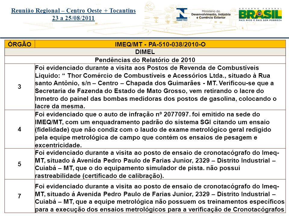 Título do evento Reunião Regional – Centro Oeste + Tocantins 23 a 25/08/2011 ÓRGÃOIMEQ/MT - PA-510-038/2010-O DIMEL Pendências do Relatório de 2010 3