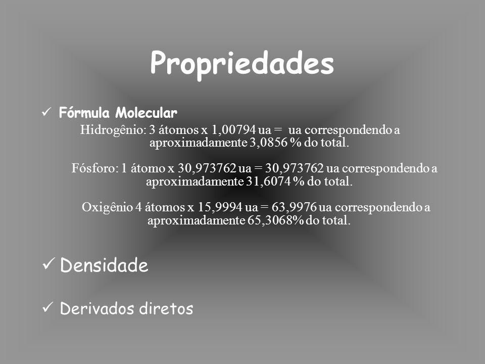 Fórmula Molecular Hidrogênio: 3 átomos x 1,00794 ua = ua correspondendo a aproximadamente 3,0856 % do total.