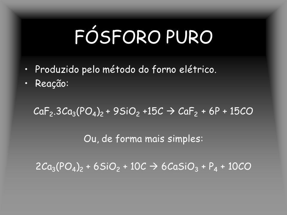 FÓSFORO PURO Produzido pelo método do forno elétrico.