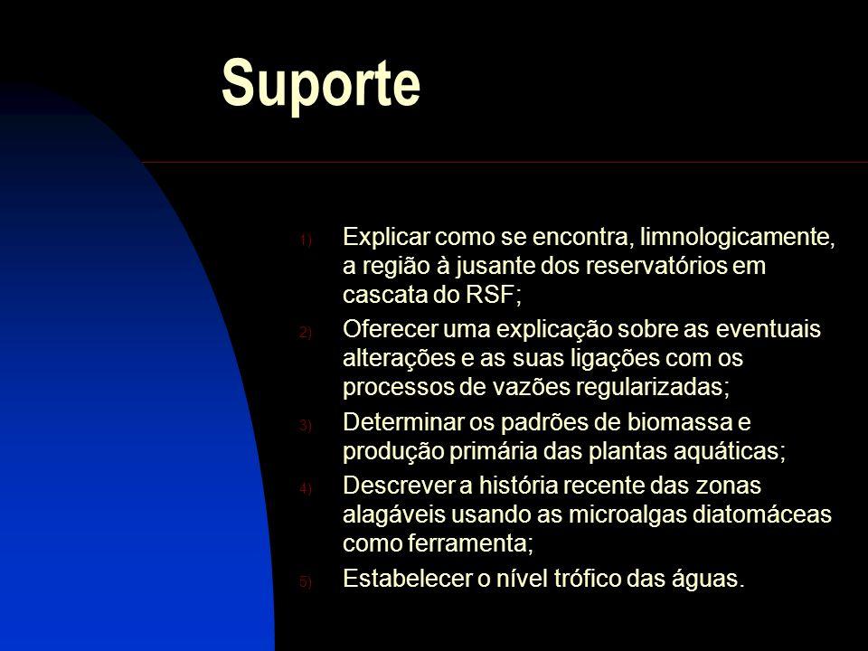 Suporte 1) Explicar como se encontra, limnologicamente, a região à jusante dos reservatórios em cascata do RSF; 2) Oferecer uma explicação sobre as ev