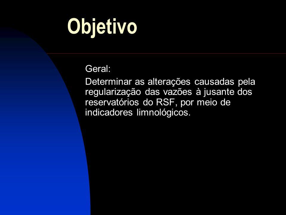 Objetivo Geral: Determinar as alterações causadas pela regularização das vazões à jusante dos reservatórios do RSF, por meio de indicadores limnológic
