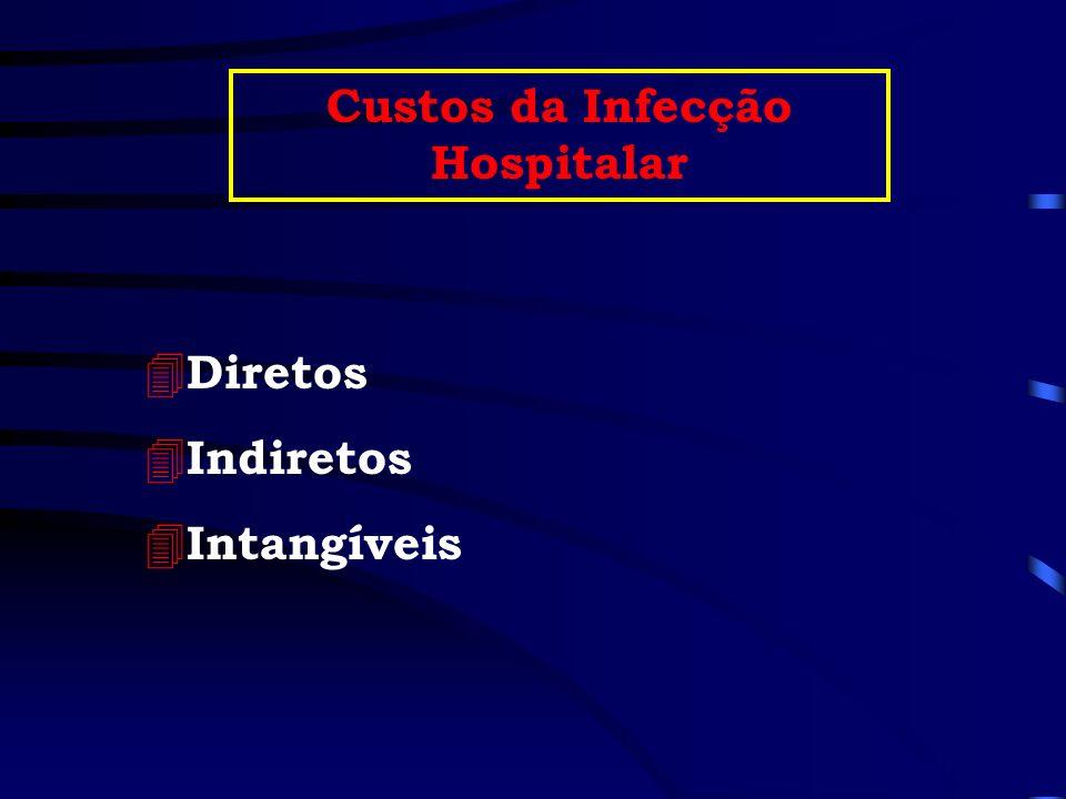 4 Diretos 4 Indiretos 4 Intangíveis Custos da Infecção Hospitalar