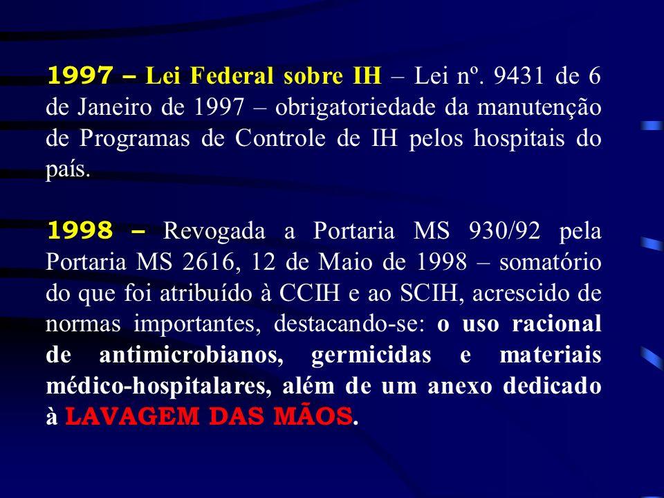 1997 – Lei Federal sobre IH – Lei nº. 9431 de 6 de Janeiro de 1997 – obrigatoriedade da manutenção de Programas de Controle de IH pelos hospitais do p