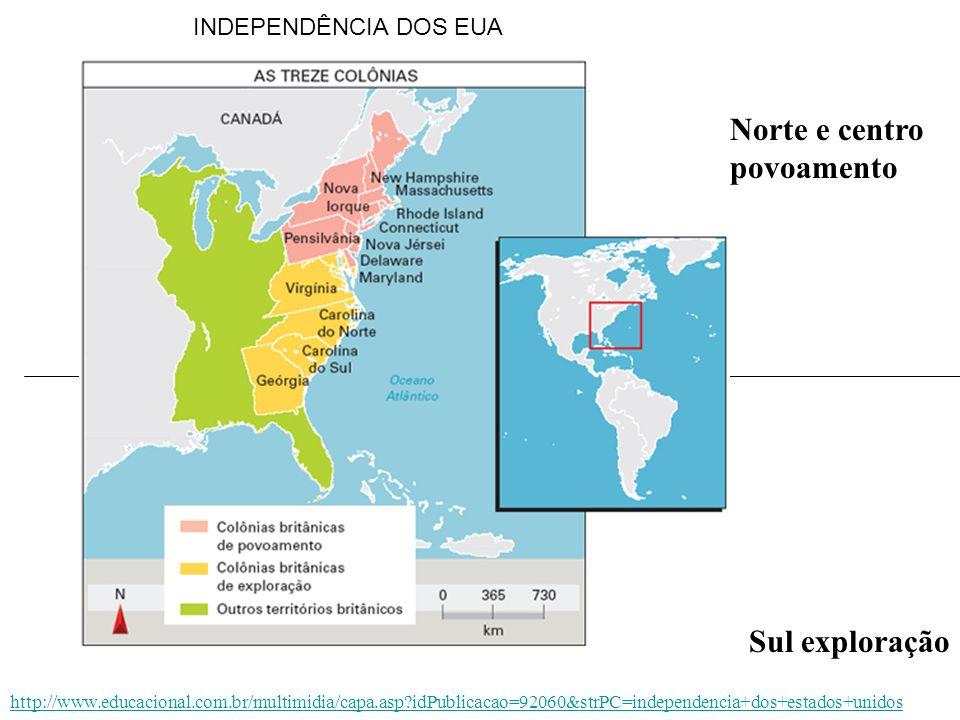 Norte e centro povoamento Sul exploração http://www.educacional.com.br/multimidia/capa.asp?idPublicacao=92060&strPC=independencia+dos+estados+unidos I