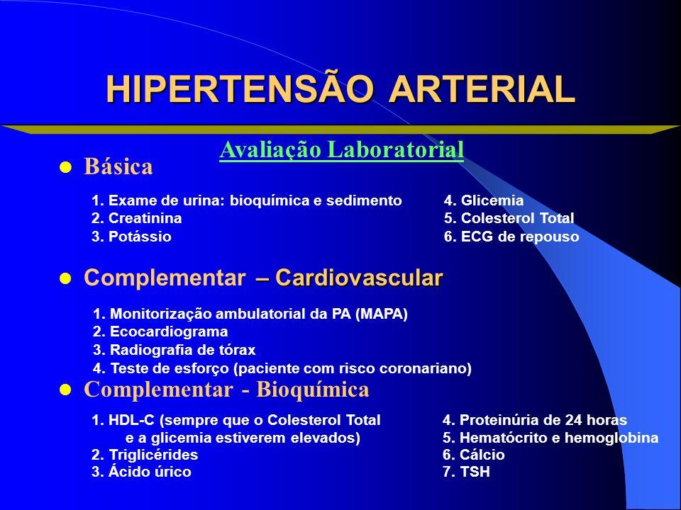 HIPERTENSÃO ARTERIAL Básica – Cardiovascular Complementar – Cardiovascular Complementar - Bioquímica 1. Exame de urina: bioquímica e sedimento 2. Crea