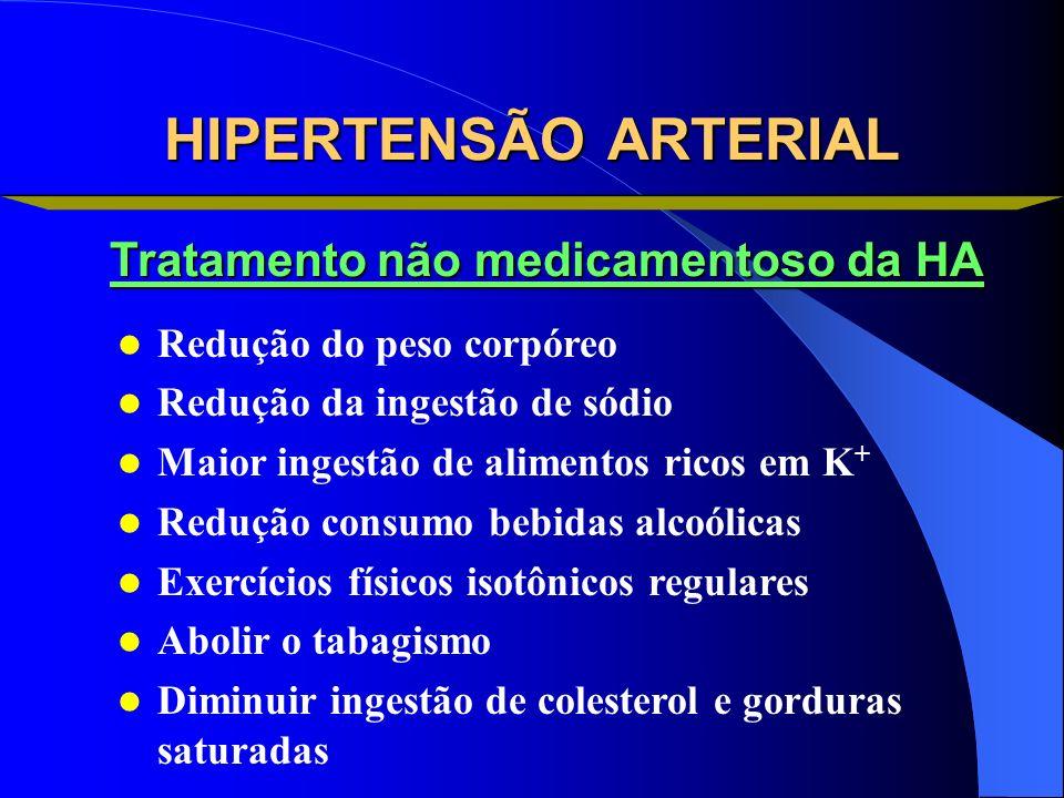 Redução do peso corpóreo Redução da ingestão de sódio Maior ingestão de alimentos ricos em K + Redução consumo bebidas alcoólicas Exercícios físicos i