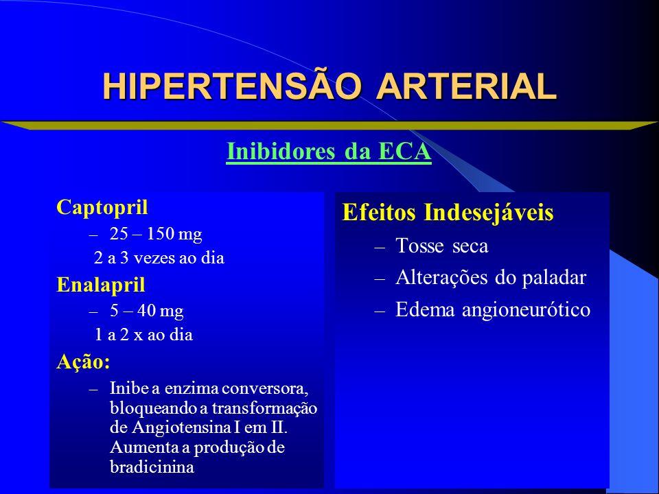 HIPERTENSÃO ARTERIAL Captopril – 25 – 150 mg 2 a 3 vezes ao dia Enalapril – 5 – 40 mg 1 a 2 x ao dia Ação: – Inibe a enzima conversora, bloqueando a t
