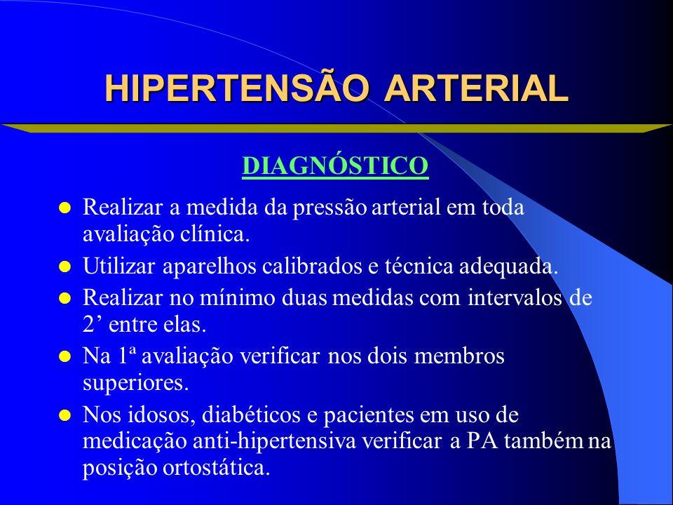 HIPERTENSÃO ARTERIAL Realizar a medida da pressão arterial em toda avaliação clínica. Utilizar aparelhos calibrados e técnica adequada. Realizar no mí