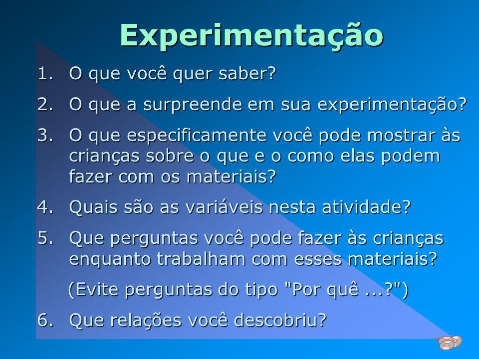 Experimentação 1.O que você quer saber? 2.O que a surpreende em sua experimentação? 3.O que especificamente você pode mostrar às crianças sobre o que