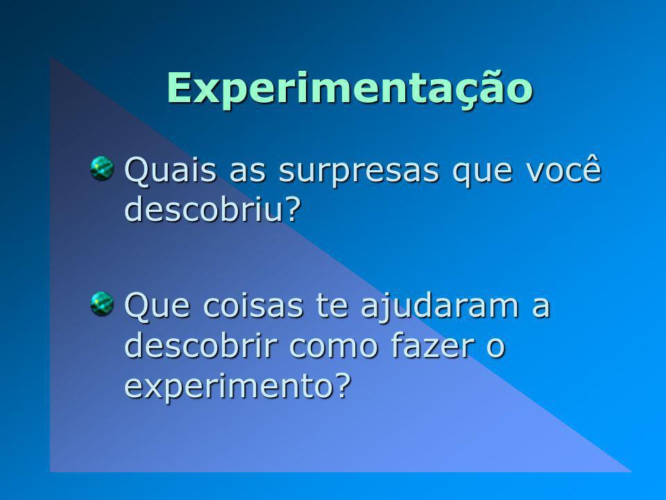 Experimentação Quais as surpresas que você descobriu? Que coisas te ajudaram a descobrir como fazer o experimento?