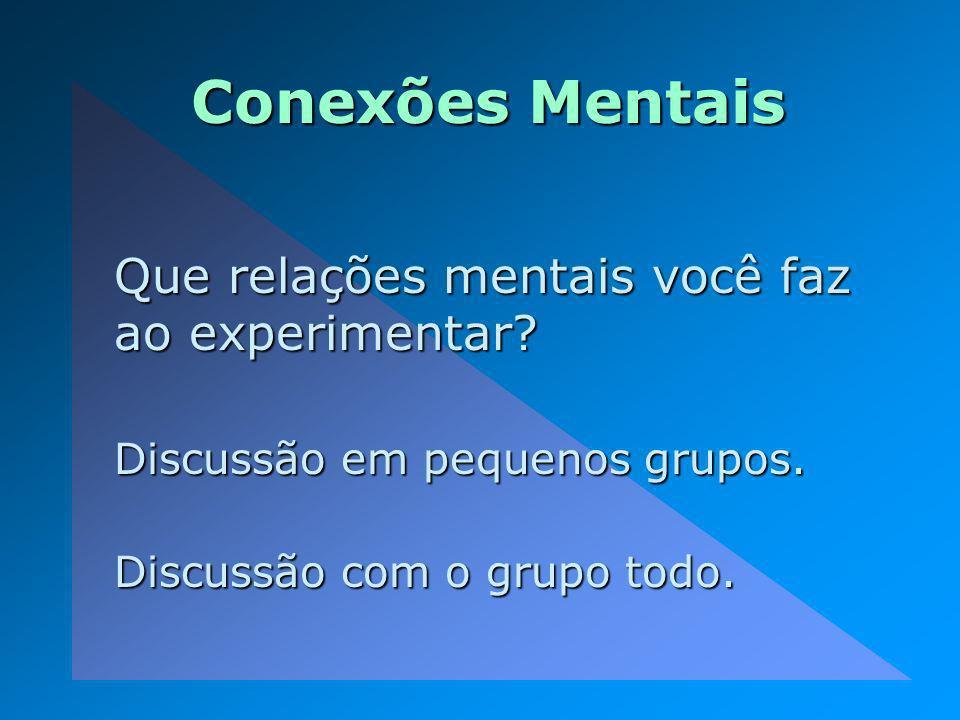 Conexões Mentais Que relações mentais você faz ao experimentar? Discussão em pequenos grupos. Discussão com o grupo todo.