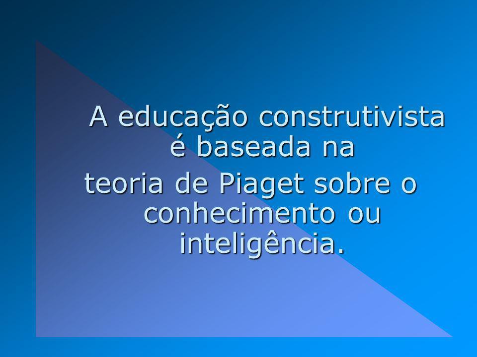 A educação construtivista é baseada na A educação construtivista é baseada na teoria de Piaget sobre o conhecimento ou inteligência.