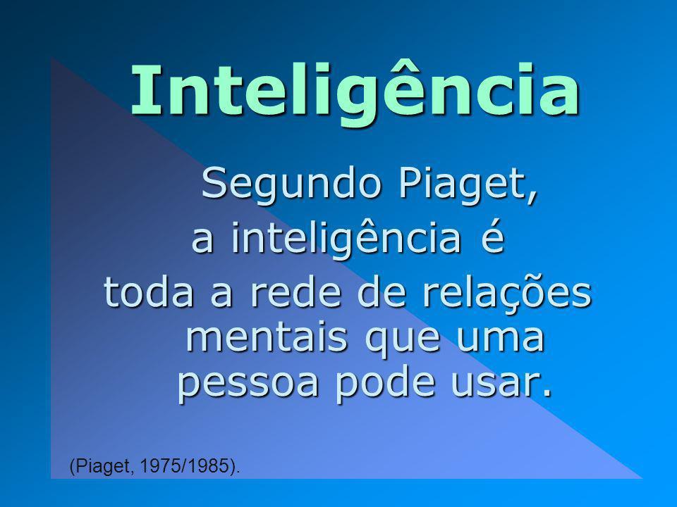 Inte ligência Segundo Piaget, Segundo Piaget, a inteligência é toda a rede de relações mentais que uma pessoa pode usar. (Piaget, 1975/1985).