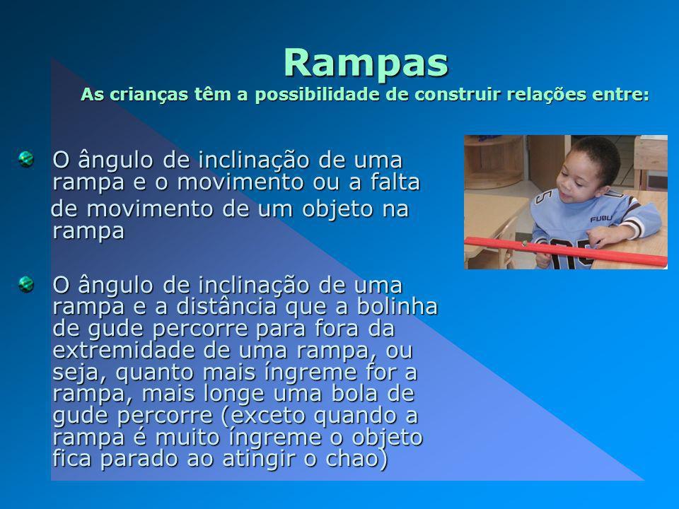 Rampas As crianças têm a possibilidade de construir relações entre: O ângulo de inclinação de uma rampa e o movimento ou a falta de movimento de um ob
