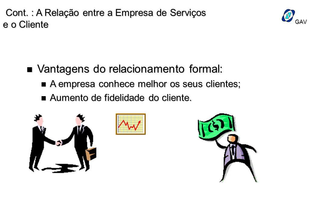 GAV Cont. : A Relação entre a Empresa de Serviços e o Cliente Cont. : A Relação entre a Empresa de Serviços e o Cliente n Vantagens do relacionamento