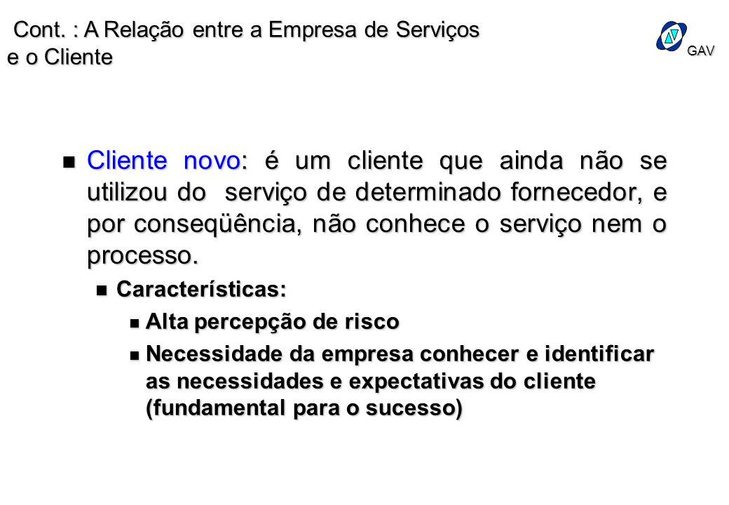 GAV n Cliente novo: é um cliente que ainda não se utilizou do serviço de determinado fornecedor, e por conseqüência, não conhece o serviço nem o proce