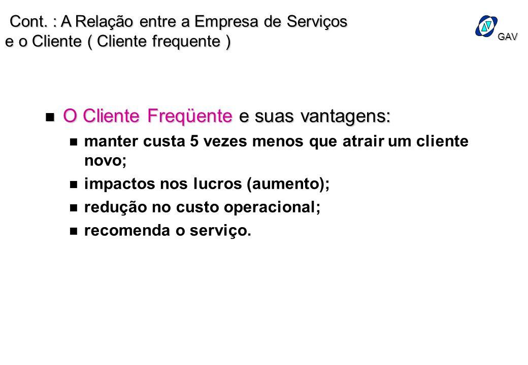 GAV n O Cliente Freqüente e suas vantagens: n n manter custa 5 vezes menos que atrair um cliente novo; n n impactos nos lucros (aumento); n n redução