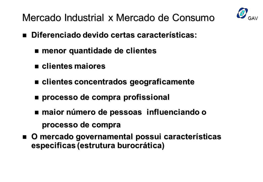 GAV Mercado Industrial x Mercado de Consumo n Diferenciado devido certas características: n menor quantidade de clientes n clientes maiores n clientes