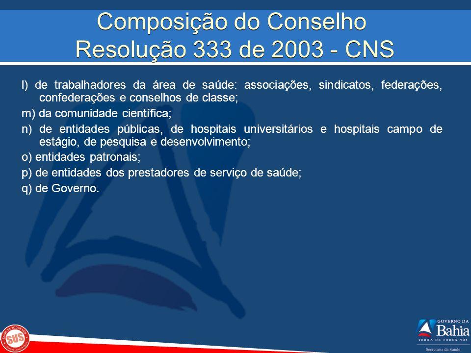 Composição do Conselho Resolução 333 de 2003 - CNS l) de trabalhadores da área de saúde: associações, sindicatos, federações, confederações e conselho