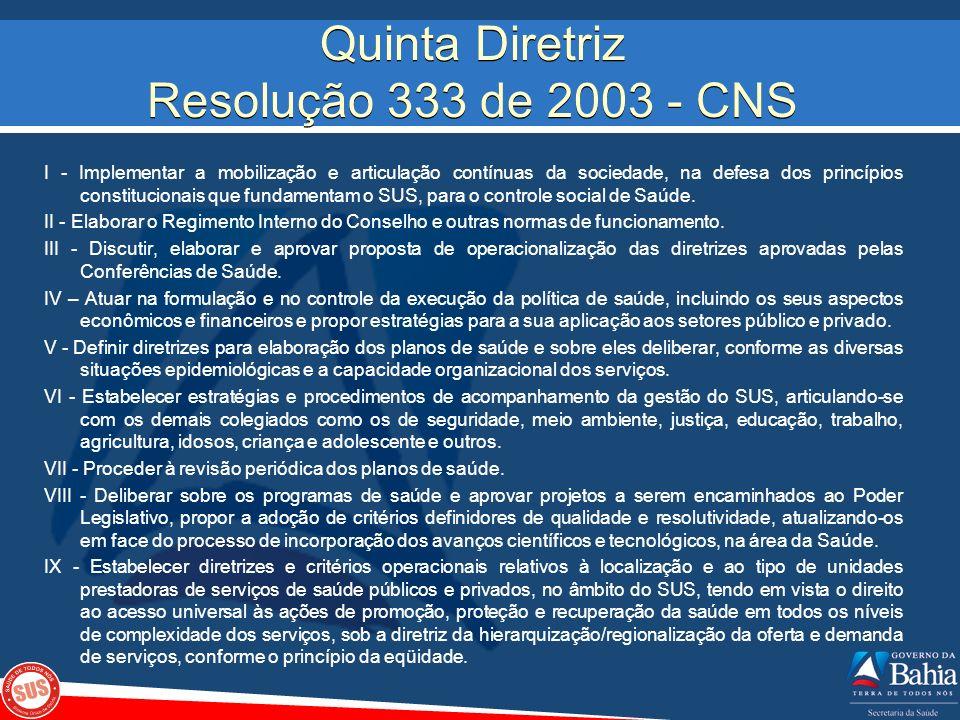 Quinta Diretriz Resolução 333 de 2003 - CNS I - Implementar a mobilização e articulação contínuas da sociedade, na defesa dos princípios constituciona