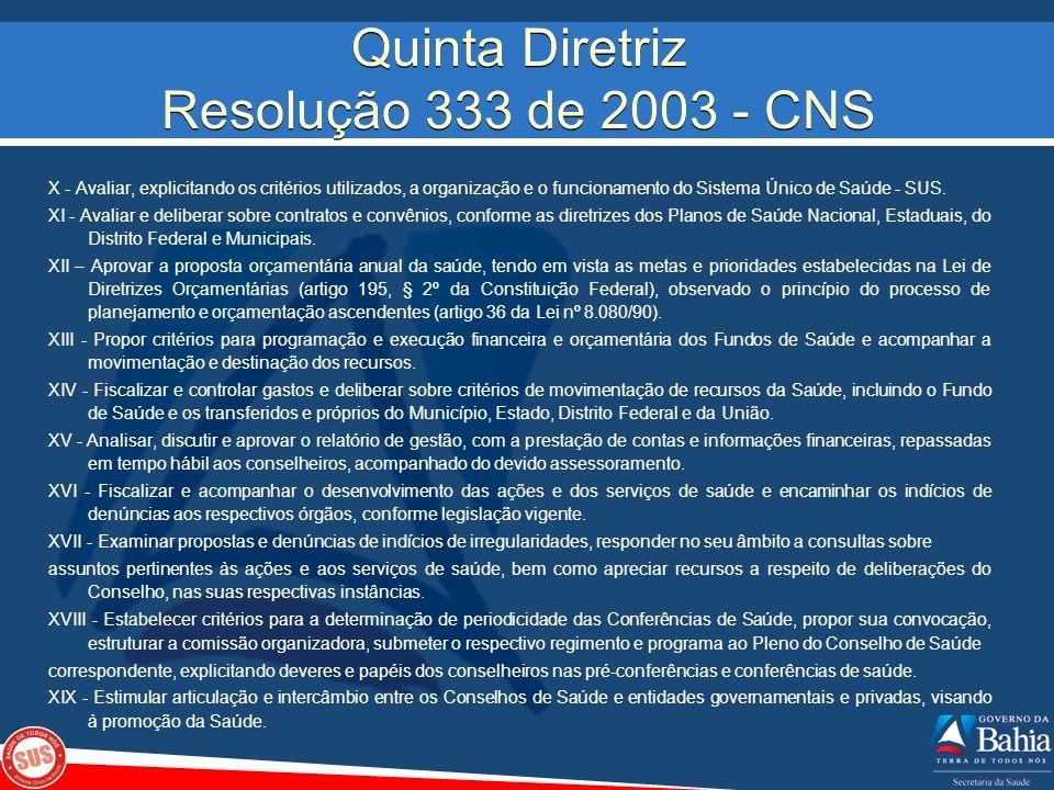 Quinta Diretriz Resolução 333 de 2003 - CNS X - Avaliar, explicitando os critérios utilizados, a organização e o funcionamento do Sistema Único de Saú