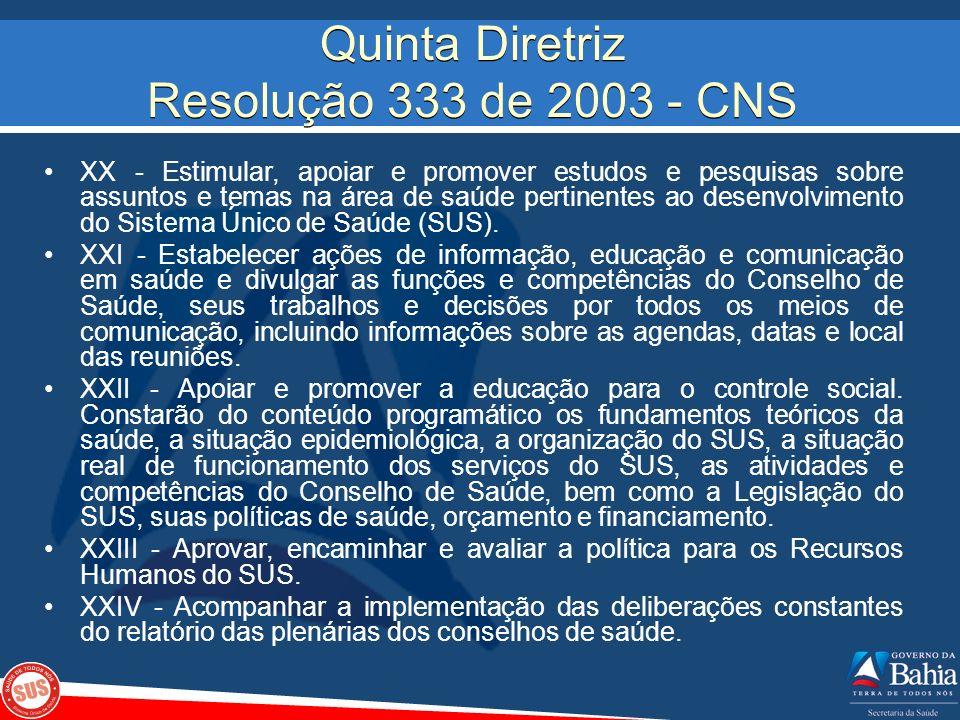 Quinta Diretriz Resolução 333 de 2003 - CNS XX - Estimular, apoiar e promover estudos e pesquisas sobre assuntos e temas na área de saúde pertinentes