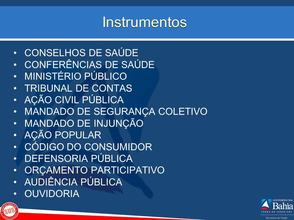 Instrumentos CONSELHOS DE SAÚDE CONFERÊNCIAS DE SAÚDE MINISTÉRIO PÚBLICO TRIBUNAL DE CONTAS AÇÃO CIVIL PÚBLICA MANDADO DE SEGURANÇA COLETIVO MANDADO D