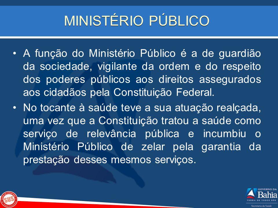 MINISTÉRIO PÚBLICO A função do Ministério Público é a de guardião da sociedade, vigilante da ordem e do respeito dos poderes públicos aos direitos ass