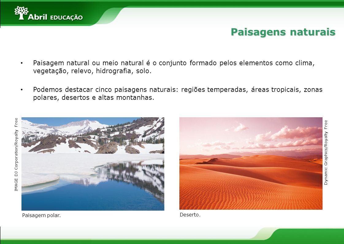 Paisagem natural ou meio natural é o conjunto formado pelos elementos como clima, vegetação, relevo, hidrografia, solo. Podemos destacar cinco paisage