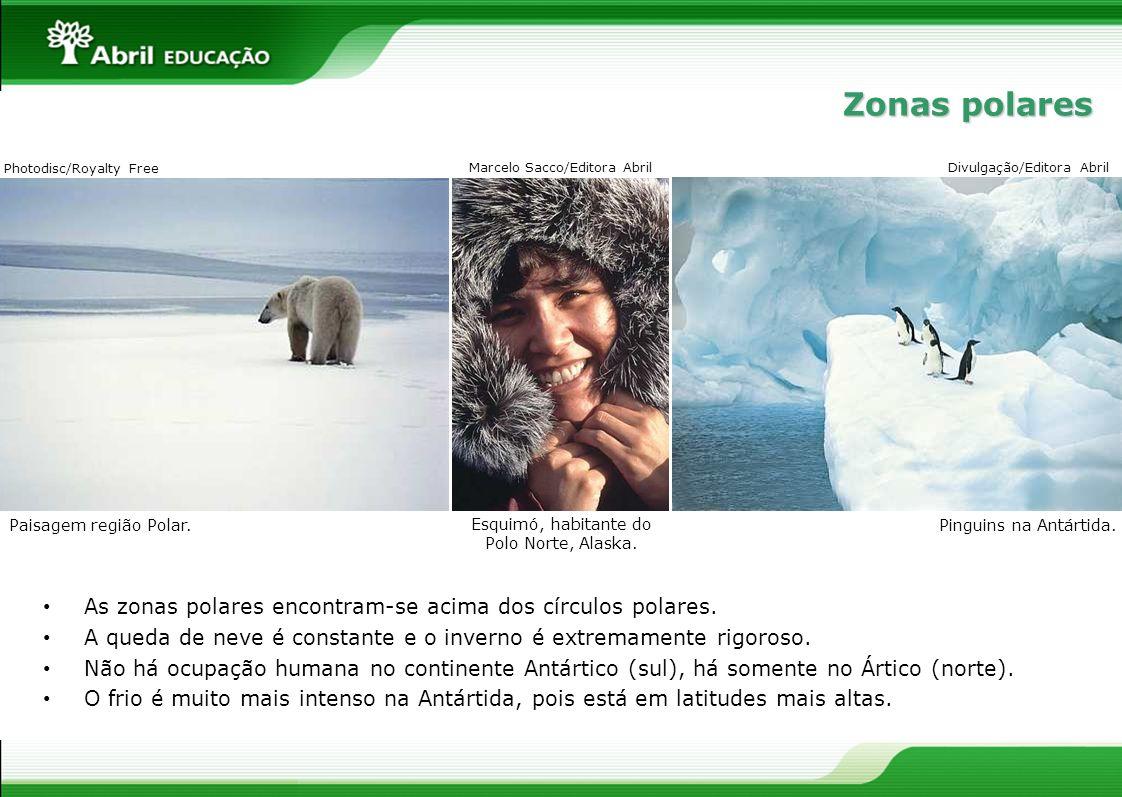 As zonas polares encontram-se acima dos círculos polares. A queda de neve é constante e o inverno é extremamente rigoroso. Não há ocupação humana no c