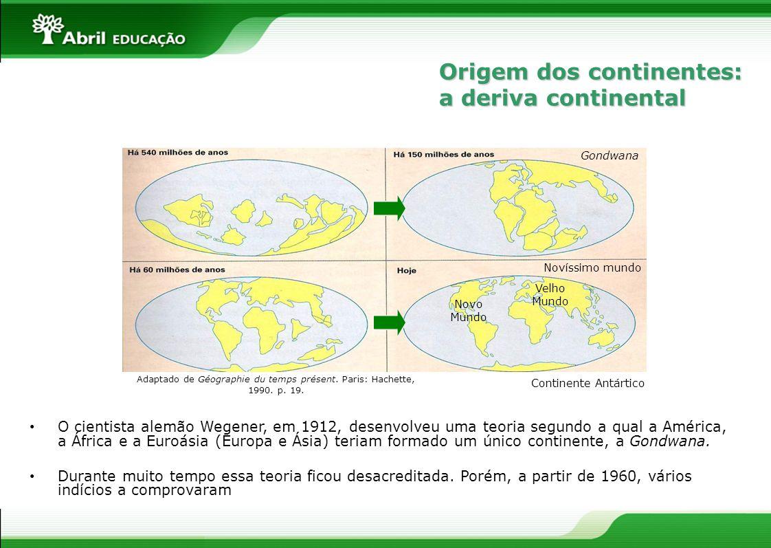 O cientista alemão Wegener, em 1912, desenvolveu uma teoria segundo a qual a América, a África e a Euroásia (Europa e Ásia) teriam formado um único co