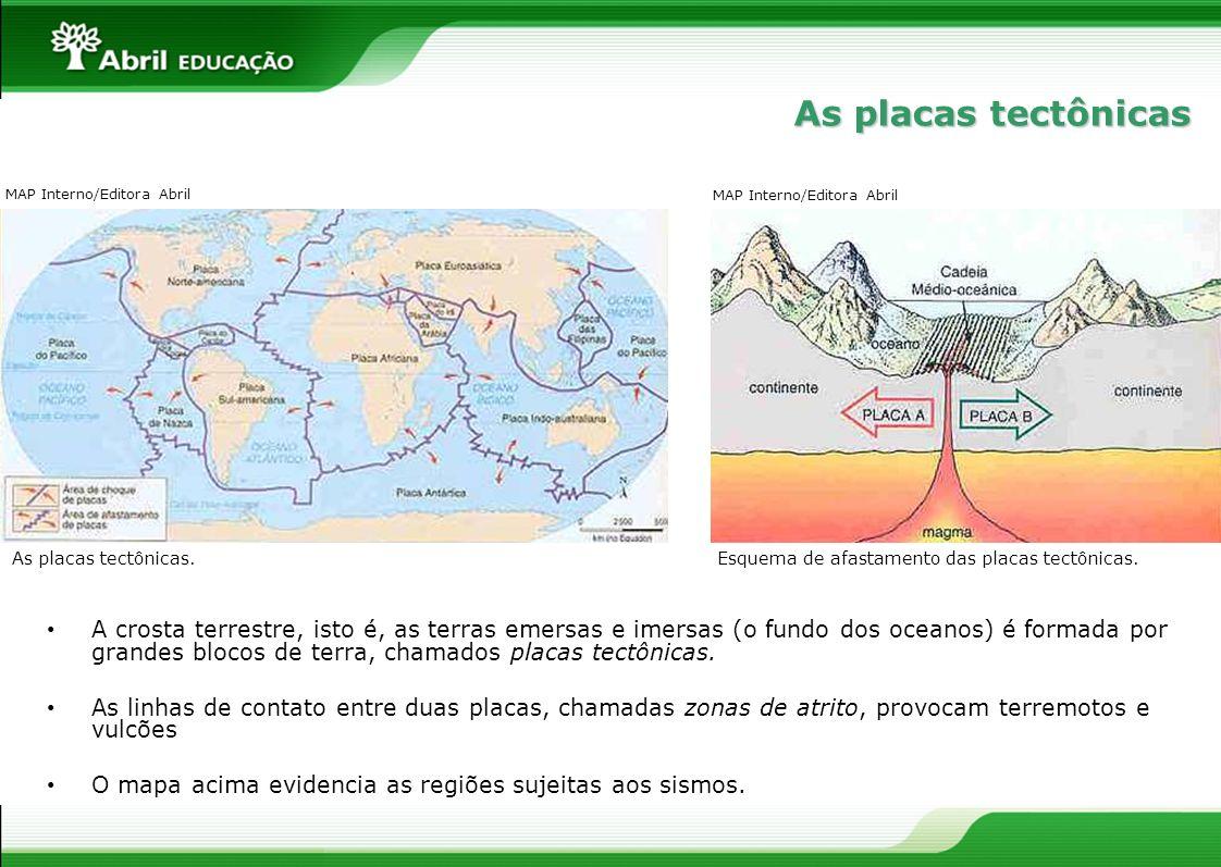 A crosta terrestre, isto é, as terras emersas e imersas (o fundo dos oceanos) é formada por grandes blocos de terra, chamados placas tectônicas. As li