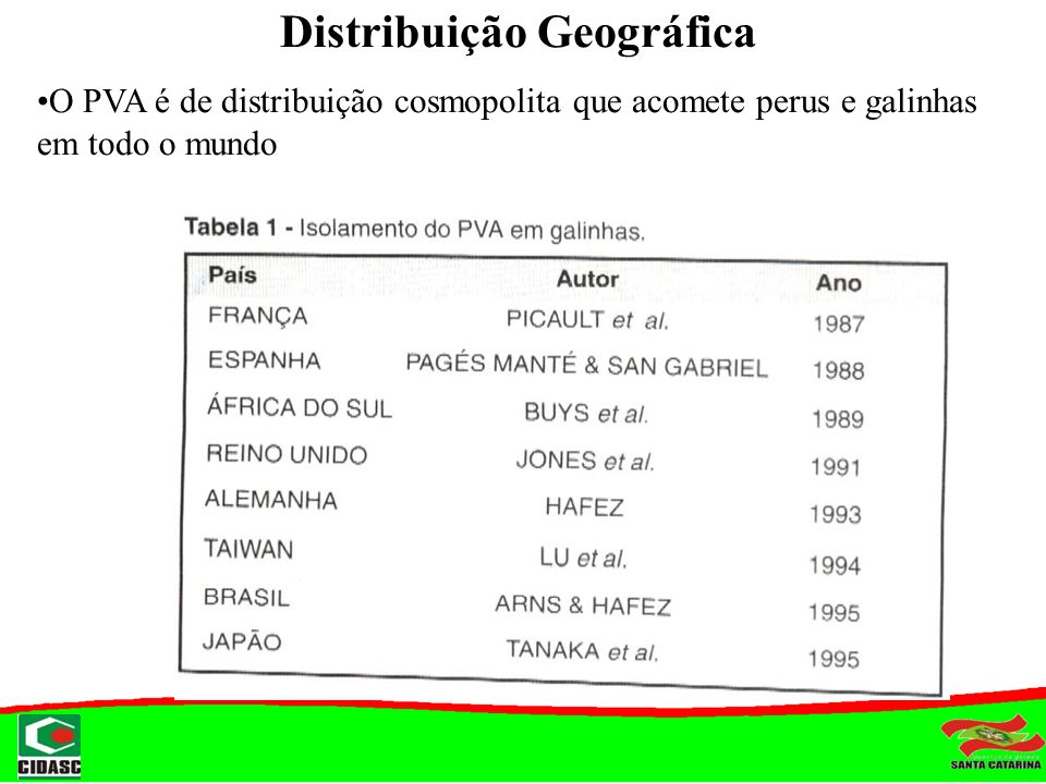 Distribuição Geográfica O PVA é de distribuição cosmopolita que acomete perus e galinhas em todo o mundo