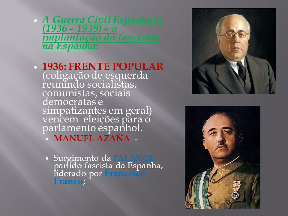 A Guerra Civil Espanhola (1936 – 1939) – a implantação do fascismo na Espanha : 1936: FRENTE POPULAR (coligação de esquerda reunindo socialistas, comu