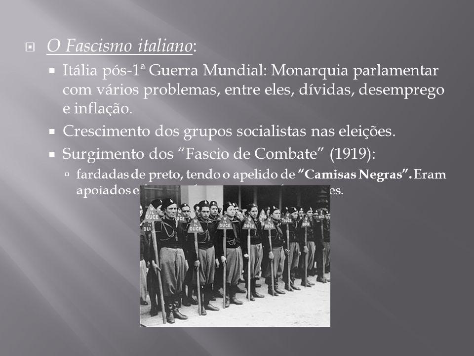 O Fascismo italiano : Itália pós-1ª Guerra Mundial: Monarquia parlamentar com vários problemas, entre eles, dívidas, desemprego e inflação. Cresciment
