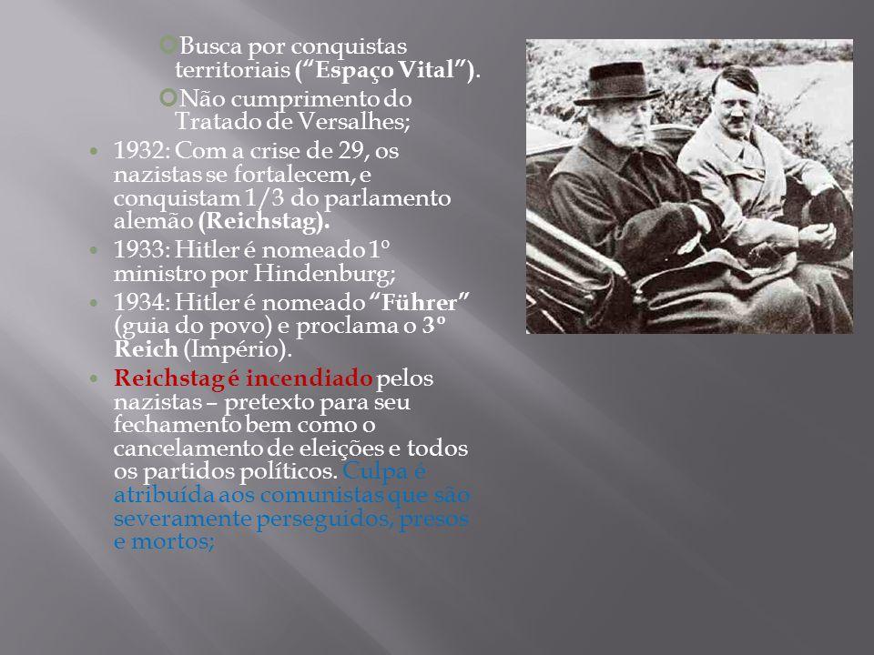 Busca por conquistas territoriais (Espaço Vital). Não cumprimento do Tratado de Versalhes; 1932: Com a crise de 29, os nazistas se fortalecem, e conqu