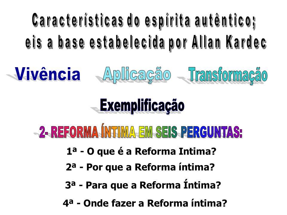1ª - O que é a Reforma Intima? 2ª - Por que a Reforma íntima? 3ª - Para que a Reforma Íntima? 4ª - Onde fazer a Reforma íntima?