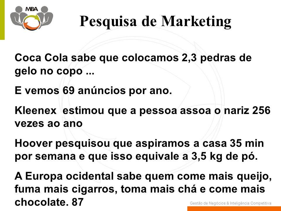 Gestão de Negócios & Inteligência Competitiva Pesquisa de Marketing Coca Cola sabe que colocamos 2,3 pedras de gelo no copo... E vemos 69 anúncios por