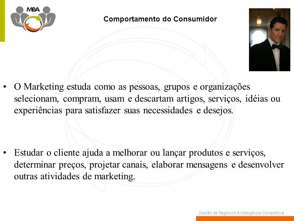 Gestão de Negócios & Inteligência Competitiva O Marketing estuda como as pessoas, grupos e organizações selecionam, compram, usam e descartam artigos,