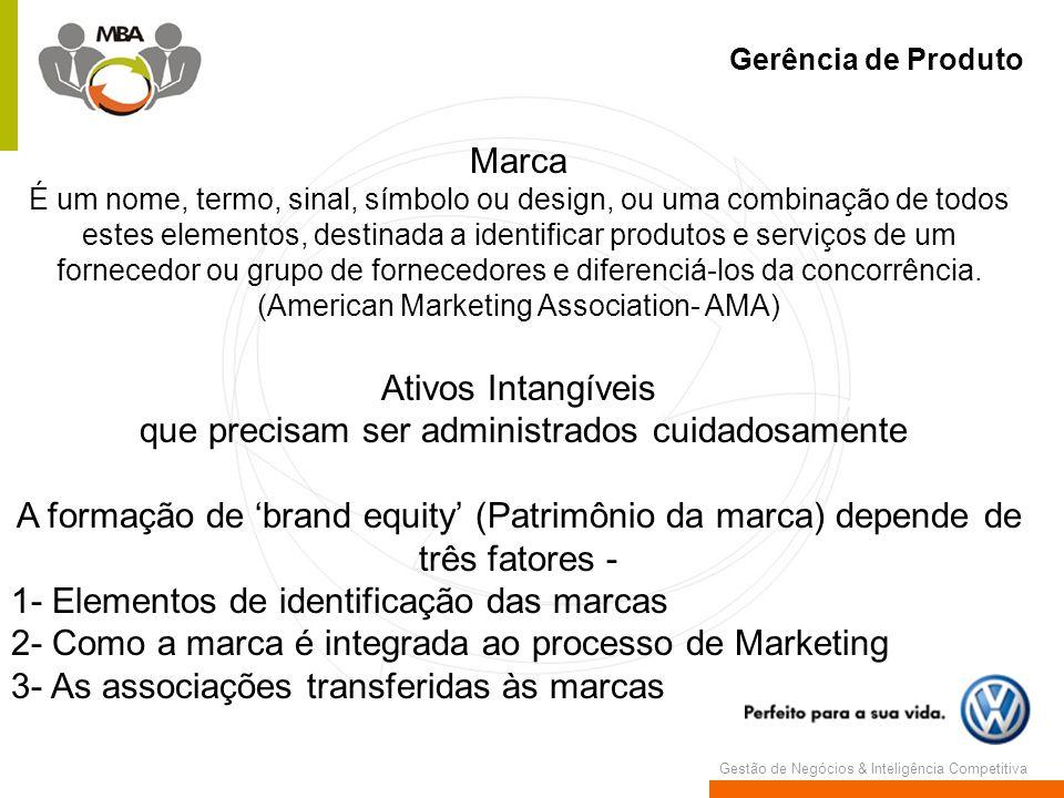 Gestão de Negócios & Inteligência Competitiva Gerência de Produto Marca É um nome, termo, sinal, símbolo ou design, ou uma combinação de todos estes e